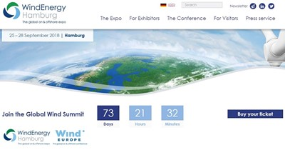 WINDENERGY HAMBURG AND WINDEUROPE CONFERENCE TO BE HELD IN PARALLEL AT THE HAMBURG MESSE SITE